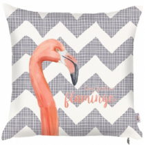 Sivá obliečka na vankúš Apolena Zigzag Flamingo, 43&...