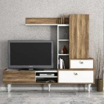 Set TV komody a nástenných skriniek v dekore orechového dreva Destina