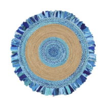 Okrúhly koberec z juty a bavlny Eco Rugs Aqua, Ø 150 cm