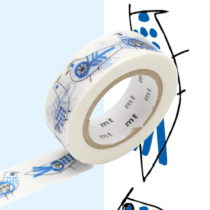 Bielo-modrá washi páska MT Masking Tape Retrobirds