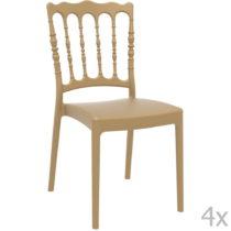 Sada 4 béžových záhradných stoličiek Resol N...
