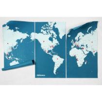 Modrá nástenná mapa sveta Palomar Pin World XL, 198×&a...