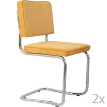 Sada 2 žltých stoličiek Zuiver Ridge Kink Rib