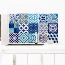 Sada 15 dekoratívnych samolepiek na stenu Ambiance Azur, 10×10...