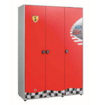 Červená šatníková skriňa Race Cup 3 Doors W...
