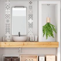 Sada 30 nástenných samolepiek Ambiance Cement Tiles Shade of Gray Bari, 10 &#x...