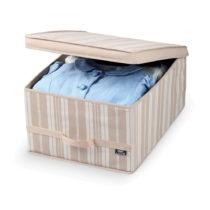 Béžový úložný box Domopak Stripes, d&#x1...