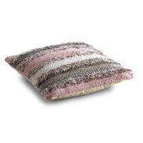 Sivo-ružový vzorovaný vankúš s výpl&#x14...