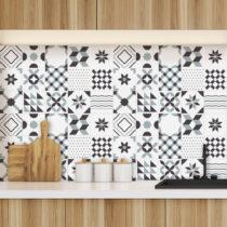 Sada 60 dekoratívnych samolepiek na stenu Ambiance Geometric Grey