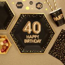 Sada 8 veľkých papierových tanierov Neviti Glitz & Glamour Happy 40