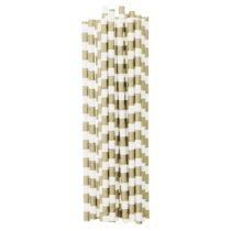 Sada 25 papierových slamiek Miss Étoile Gold Stripes