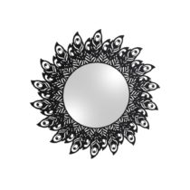 Nástenné zrkadlo s rámom v čiernej farbe PT LIVING Peacock Feat...