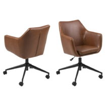 Hnedá kancelárska stolička na kolieskach z umelej kože Actona ...