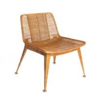 Medovohnedá stolička s výpletom z ratanu Simla Ratan