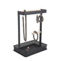 Čierny stojan na šperky s drevenými detailmi PT LIVING Merge Square