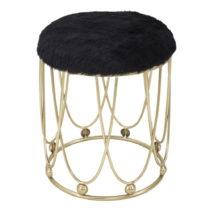 Čierna polstrovaná stolička s železnou konštrukciou...