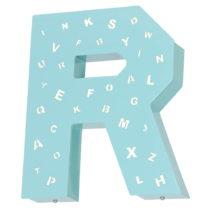 Tyrkysová svetelná dekorácia v tvare písmena Glimte Letter R
