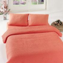 Koralovočervený pléd cez posteľ Coral Pique, 200x&am...