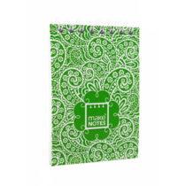 Zelený bloček na poznámky A7 Makenotes Paisley One, 64 listov