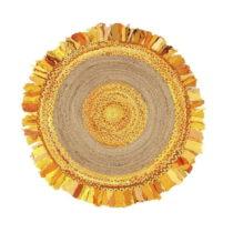 Okrúhly koberec z juty a bavlny Eco Rugs Gold, Ø 120 cm
