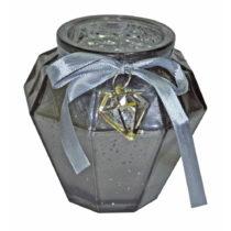 Sivý sklenený svietnik Ewax, výška 9 cm