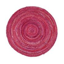 Ružový bavlnený okrúhly koberec Eco Rugs, Ø 150 cm