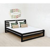 Čierna drevená dvojlôžková posteľ Benlemi D...