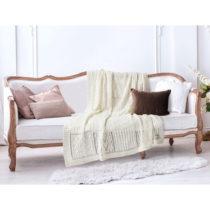 Krémovobiela bavlnená deka Madame Coco Crochet, 130×1...