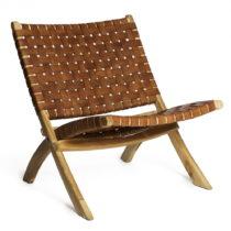Koňakovohnedá stolička s konštrukciou z teakového dr...