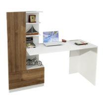 Biely pracovný stôl s knižnicou v dekore orechového dreva Domin...
