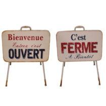 Sada 2 dekoratívnych stojacích cedúľ Antic Line Ouvert Ferme&am...