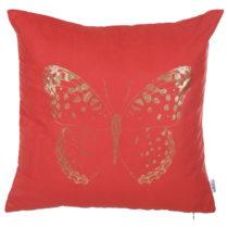 Červená obliečka na vankúš Apolena Butterfly Line, 4...