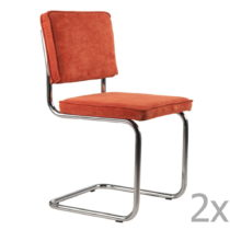 Sada 2 oranžových stoličiek Zuiver Ridge Rib