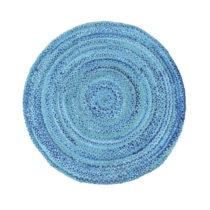 Modrý bavlnený okrúhly koberec Eco Rugs, Ø 150 cm