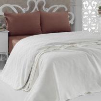 Bavlnená ľahká prikrývka na posteľ Pique Cream, 200&a...