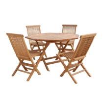 Vonkajší stôl so 4 stoličkami z teakového dreva Santi...