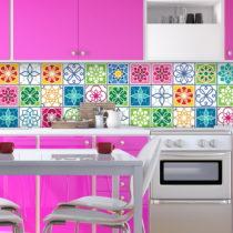 Sada 24 nástenných samolepiek Ambiance Wall Decal Cement Tiles Color Cartagena, 20...