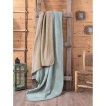 Zeleno-béžová deka Tray, 200×220 cm