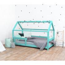 Tyrkysová detská posteľ s bočnicami zo smrekového dre...