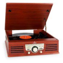 Auna 77-92W gramofón, USB, SD, AUX, FM, čerešňa