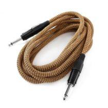 FrontStage 6,35mm jack kábel, 3 m, čierno-zlatá, sada troch káblov, textilná izolácia