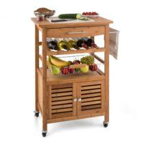 Klarstein Louisiana, kuchynský vozík, servírovací vozík, 4 poschodia, bambus