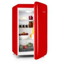 Klarstein PopArt-Bar červená chladnička, 136l retro dizajn, 3 poschodia, priečinok na zeleninu, A+