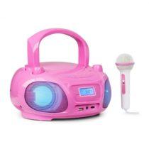 Auna Roadie Sing, CD boombox, FM rádio, svetelná šou, CD prehrávač, mikrofón, ružový