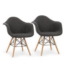 OneConcept Visconti, stolička, 2-dielna sada, polstrovaná PP-konštrukcia sedacej časti, brezové drev...