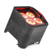 Beamz BBP94 Uplight PAR, 4 x 10 W, 6v1 LED diód, RGBAW-UV, 48 W, 12,6 V/7,8 Ah, akumulátor, čierny
