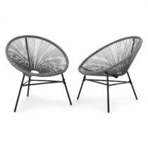 Blumfeldt Las Brisas Chairs, záhradné stoličky, sada 2 kusov, retro dizajn, 4 mm pletivo, sivé