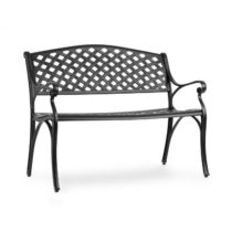 Blumfeldt Pozzilli BL, záhradná lavička, liaty hliník,odolná voči počasiu, čierna