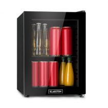 Klarstein Harlem, chladnička na nápoje, A+, kovový rošt, sklenené dvere, čierna