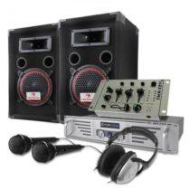 Electronic-Star DJ PA sada,1000 W reproduktory, zosilňovač, mixér, sluchadlá, mikrofóny